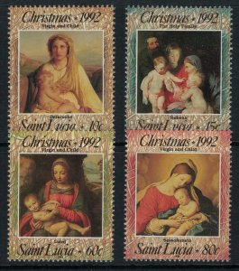 St. Lucia #997-1000* NH  CV $6.90  Christmas 1992 issue