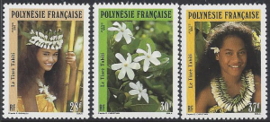 French Polynesia #552-4 MNH, set, flowers tiara & lei, issued 1991