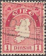 Ireland 107 (used) 1p map of Ireland, car rose (1941)