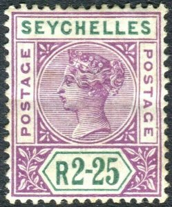 SEYCHELLES-1900 2r 25 Bright Mauve & Green.  A lightly mounted mint Sg 36