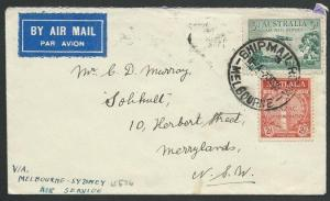 AUSTRALIA 1935 first flight cover Melbourne to Sydney......................58814