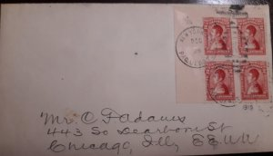 O) 1919 COLOMBIA, SANTANDER SC 3412c, BLOCK FOR 4 stamps, TO USA