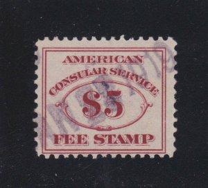 US RK6 $5 American Consular Service Used Fine SCV $42.50