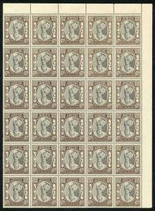 IFS JAIPUR SG55 1932 8a Postage and Revenue U/M Block of 30 (light brown gum)