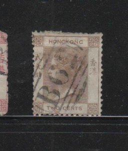 HONG KONG #9  1880   2c  QUEEN VICTORIA    USED F-VF