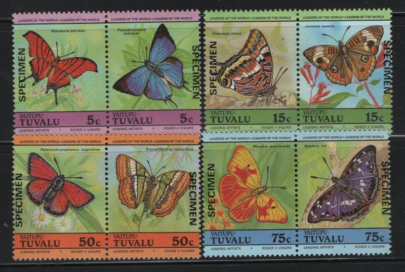 TUVALU, 39-42, MNH, 1985, BUTTERFLIES, SPECIMENS
