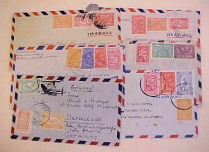 SAUDI ARABIA 5 SMALL COVERS 1950's TO USA