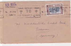 Ceylon 1954 Save Ceylon from TB Slogan Indian Bank Airmail Stamps Cover Ref25540