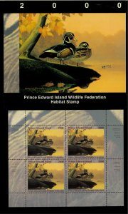 PEI #6M 2000 WOOD DUCK CONSERVATION STAMP MINI SHEET OF 4 IN FOLDER
