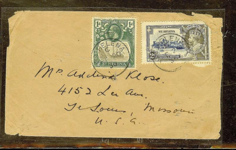 ST HELENA (P0210B) KGV 1D+SILVER JUBILEE 2S ON COVER TO USA