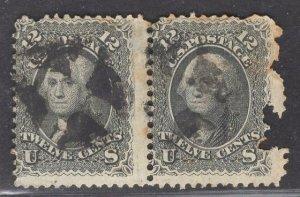 US Stamp #69 12c Black Washington Pair USED w/ faults SCV $230.00