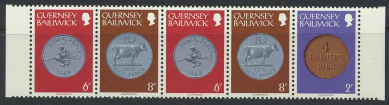 Guernsey  SG 179a Booklet strip of 5 SC# 180a MLH  see details