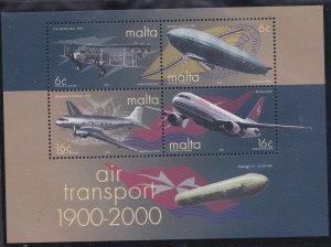 Malta # 1016b, Air Transportation Centennial, Souvenir Sheet, Mint NH, 1/2 Cat..