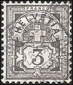 1882 SWITZERLAND  SC# 70 USED VF SOUND CV $12.00