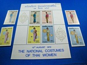 THAILAND -  SCOTT # 629-632 & 632a  -  COSTUMES SET & S/S  -  MNH  (ss116)