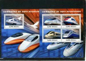 GUINEA BISSAU 2012 HIGH SPEED TRAINS SHEET OF 4 STAMPS & S/S MNH