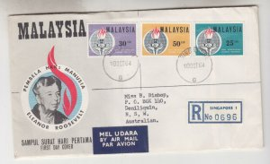 MALAYSIA, 1964 Eleanor Roosevelt set of 3, Reg. First Day cover.