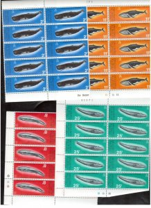 British Antarctic Territory #64 #65 #66 #67 Very Fine Never Hinged Blocks Of Ten