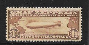 C14 MNH $1.30 Zeppelin, PSE Cert. Graded XF-90,  Free Insured Shipping