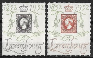 Luxembourg # 278-79  Stamp Centenary  (2) VF Unused LH