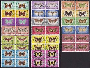 NORFOLK IS 1977 Butterflies definitive set blocks of 4 fine used...........68758