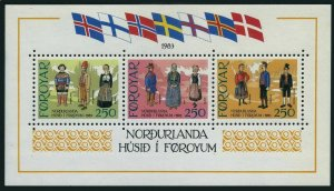 Faroe 101,MNH.Michel Bl.1. Traditional Costumes,1983.Scandinavian Flags.