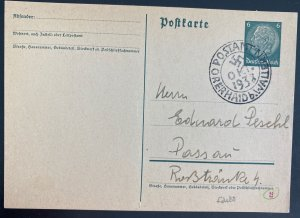 1938 Wallern Germany Sudetenland Annexation PS Postcard cover To Possan