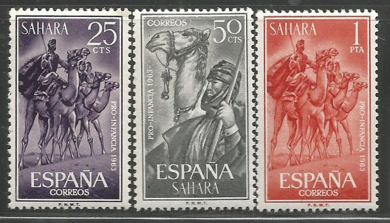 SPANISH SAHARA 134-136,  MNH,  SURTAX FOR CHILD WELFARE