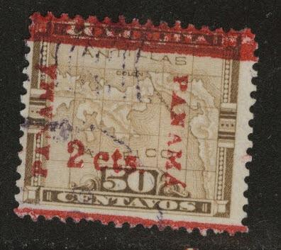 Panama  Scott 182 Used  overprinted Colombian map stamp