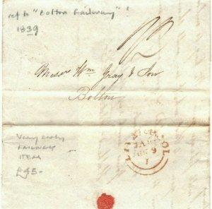 GB Cover Letter Ref *BOLTON RAILWAY* Liverpool 1839 {samwells-covers} EA111