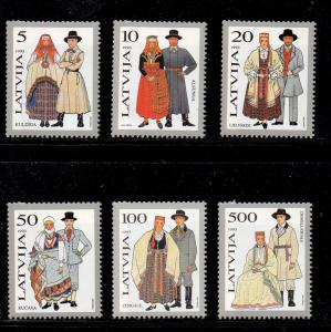 Latvia Sc 343-48 1993 Traditional Costumes stamp set mint NH