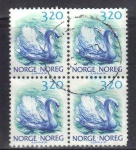 NORWAY SC# 881 *USED* 3.20k  1986-90  SWAN  BK of 4     SEE SCAN
