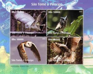 Sao Tome & Principe 2005 WWF.w/Logo BIRDS Owls Sheet Perforated Mint (NH)