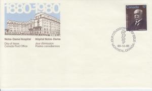 1980 Canada Lachapelle Notre Dame Hospital (Scott 877) FDC
