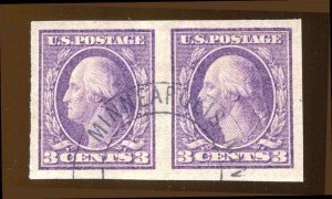 US # 484 Ty II 1917  3¢ Pair Minneapolis Double Circle Cancel Fat Margins