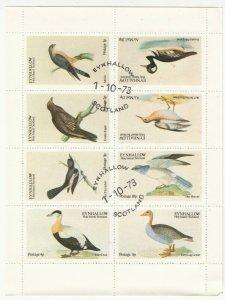Cinderellas; Eynhallow Holy Island, Birds Minisheet, 8 Vals To 20p, 1973 CTO