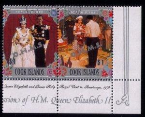 Cook Islands 1974-1978 Used Pair Silver Jubilee   Royal Visit to Rarotonga