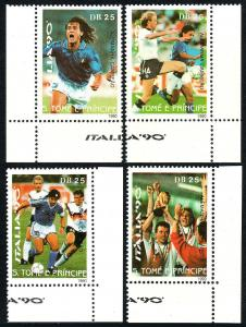 St Thomas & Prince Islands 932-935,MNH.World Cup Soccer Championships,Italy,1990