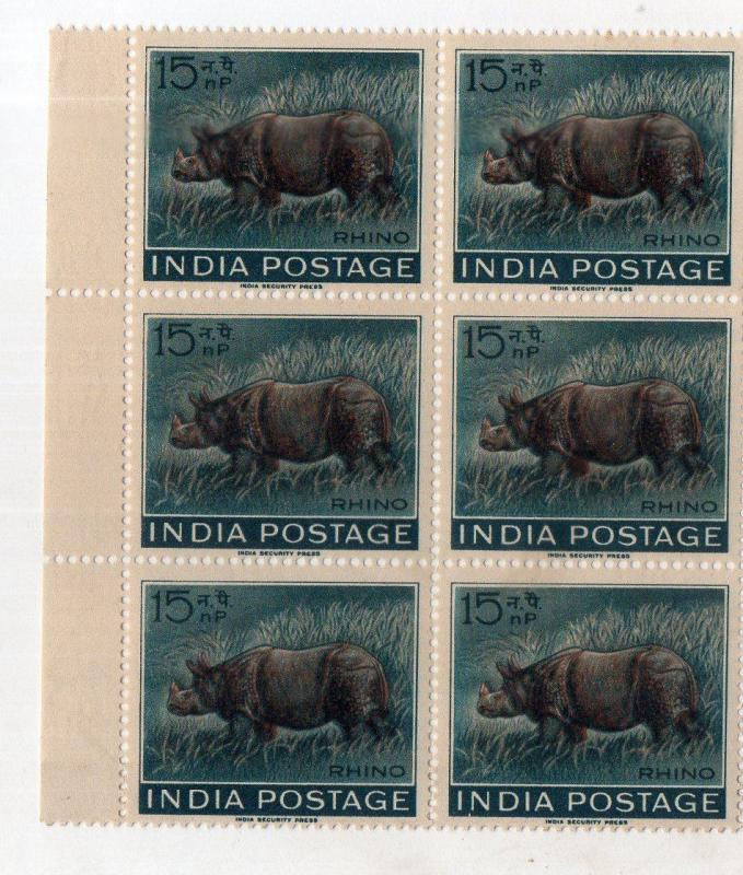 India 1962 Wildlife – Rhinoceros Animal Fauna Phila-376 BLK/6  MNH