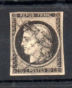 France 1849-50 20c black good used WS14594