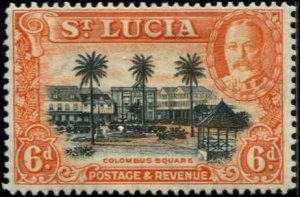 St Lucia SC# 102 Columbus Square 6d MH with mount