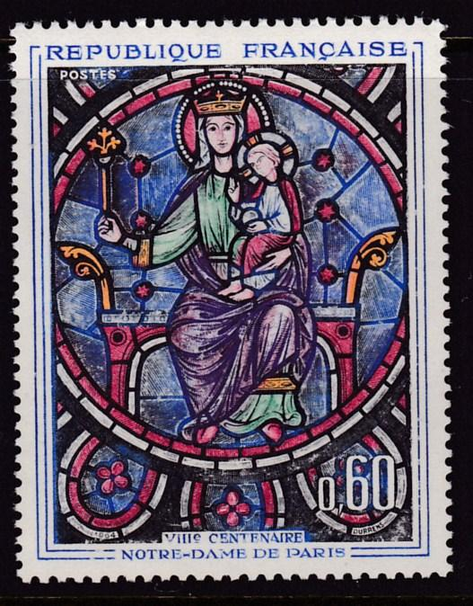 France 1964 ART Issue Madona & Child Stain Glass Window from Notre Dame VF/NH