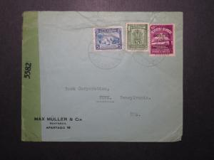 Ecuador WW2 Censor Cover to York PA / Light Crease - Z12002