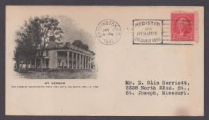 **US 20th Century Advertising Cover, Washington, DC 1/1/1932 Mount Vernon