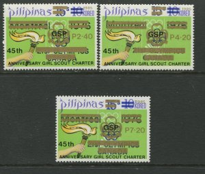 STAMP STATION PERTH Philippines #1758-1760 Scout Overprint MNH Set of 3