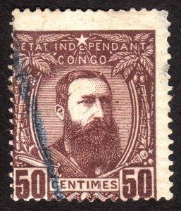 1887, Belgian Congo 50c, Used, Sc 9