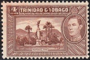 Trinidad & Tobago 1938 KGVI 4c Chocolate MH