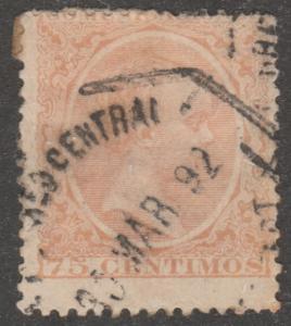 Spain stamp, used,Scott# 267, yellow orange, nice postmark #M414