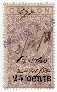 (I.B) Ceylon Revenue : Stamp Duty 25c on 50c OP