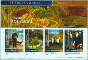 A0997 - MALDIVES, ERROR, MISPERF, Miniature sheet: 2015, Henri Rousseau, Art